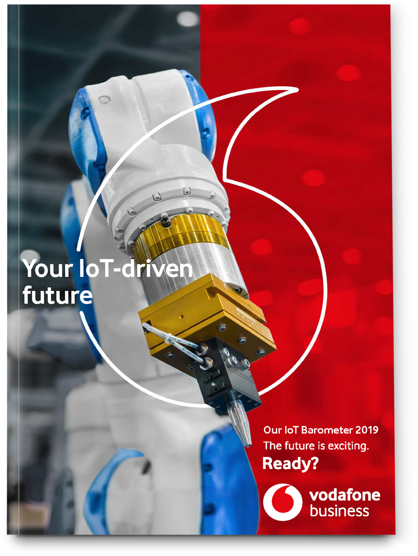 Front cover of IoT Barometer Report featuring robotic arm