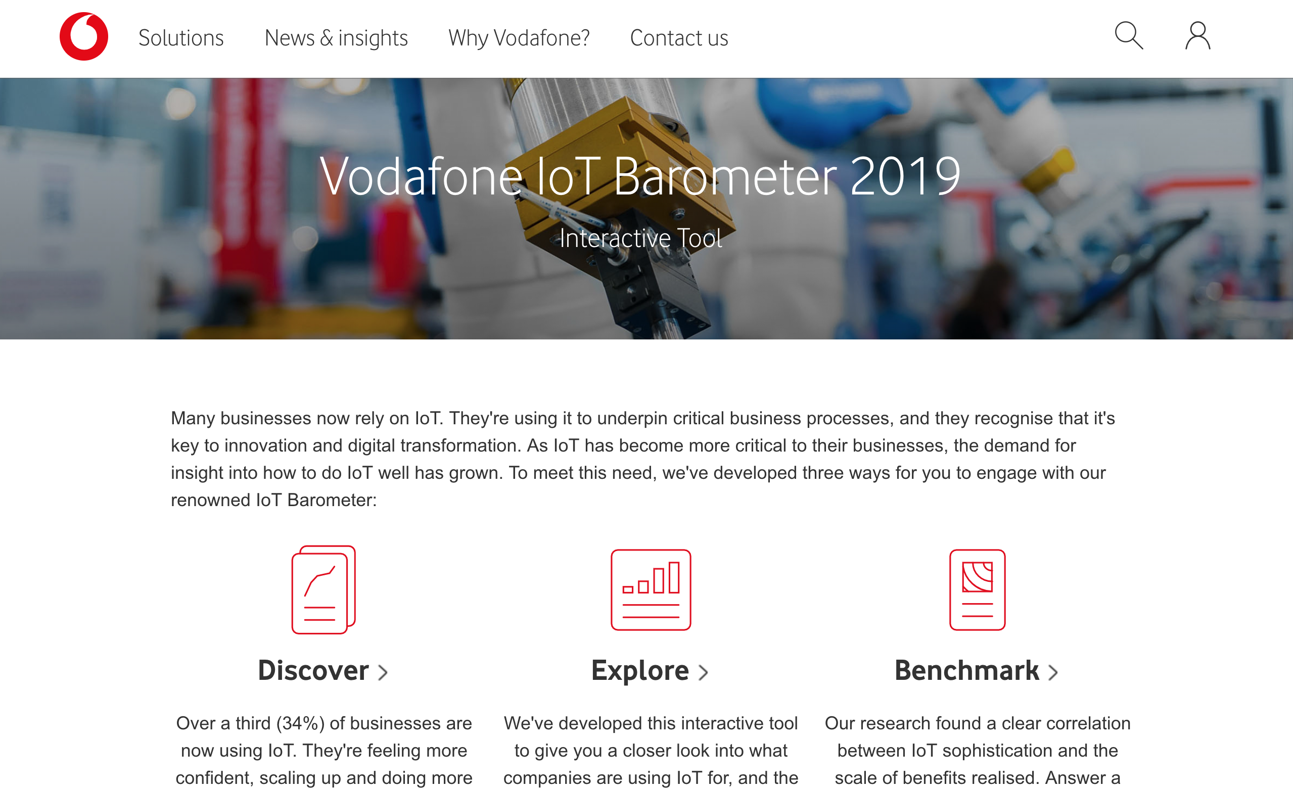 Screenshot from IoT Barometer interactive tool website